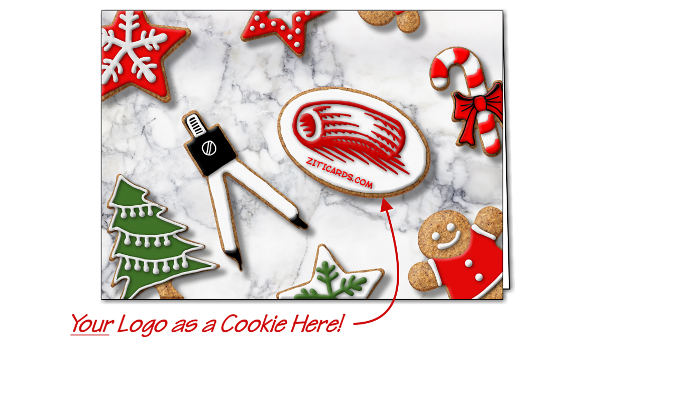 Drafting Logo Cookies Christmas Cards Customized For Your Business