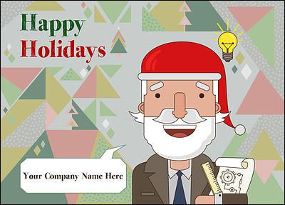 Santa Engineers Christmas Card (Glossy White)  Christmas Cards Sample